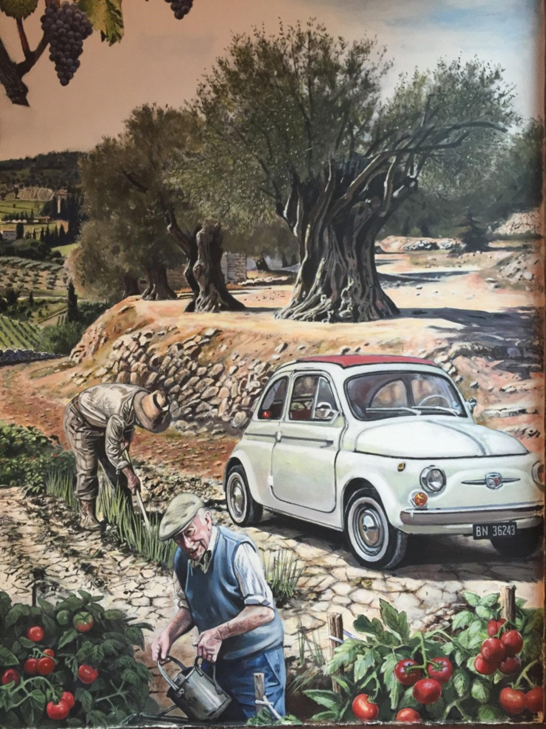 Mural of Tuscany villagers painted in the restaurant Bar Italia, Edinburgh, UK