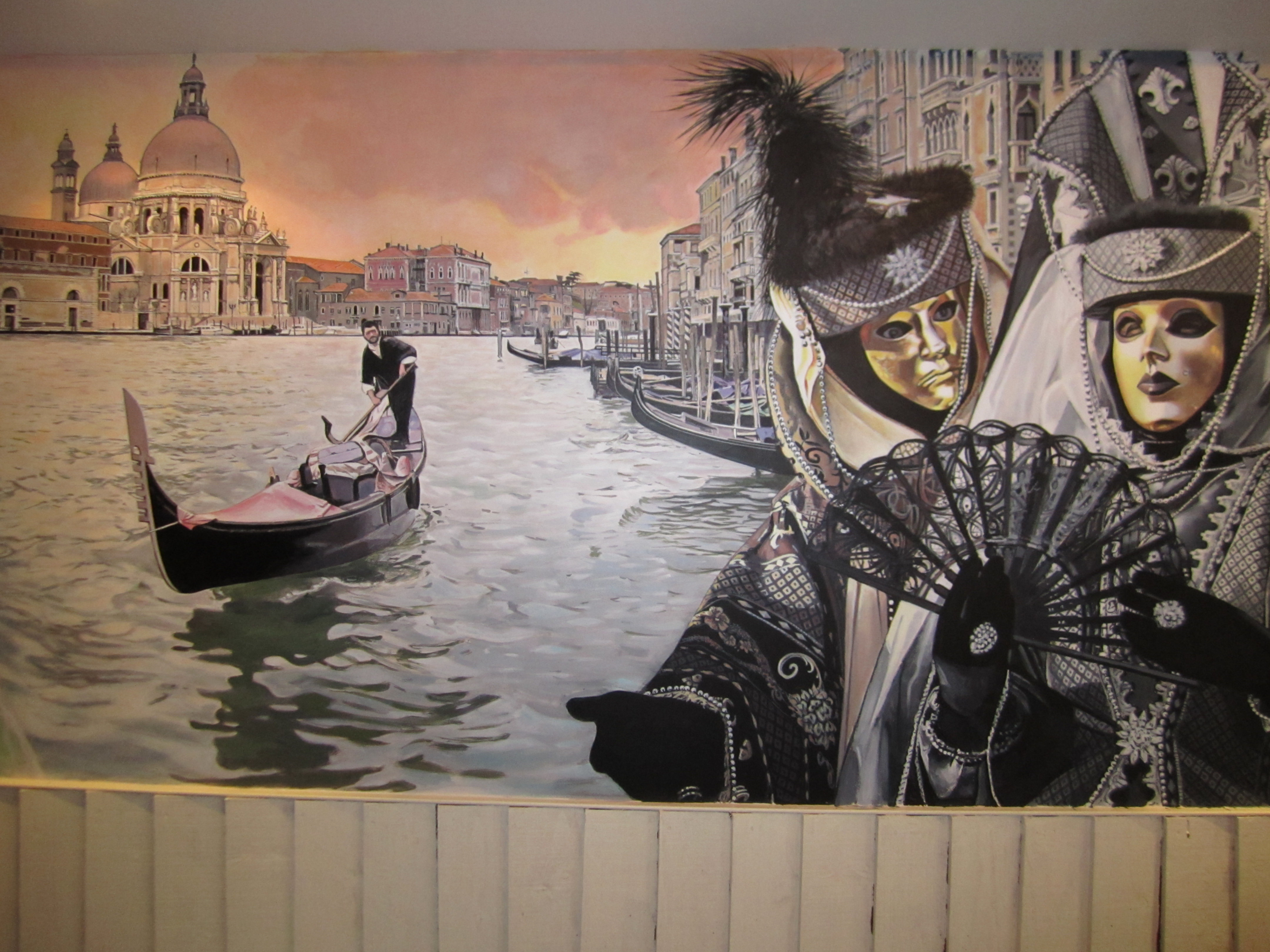 Venetian Carnival, mural in the restaurant Briciole, London, UK