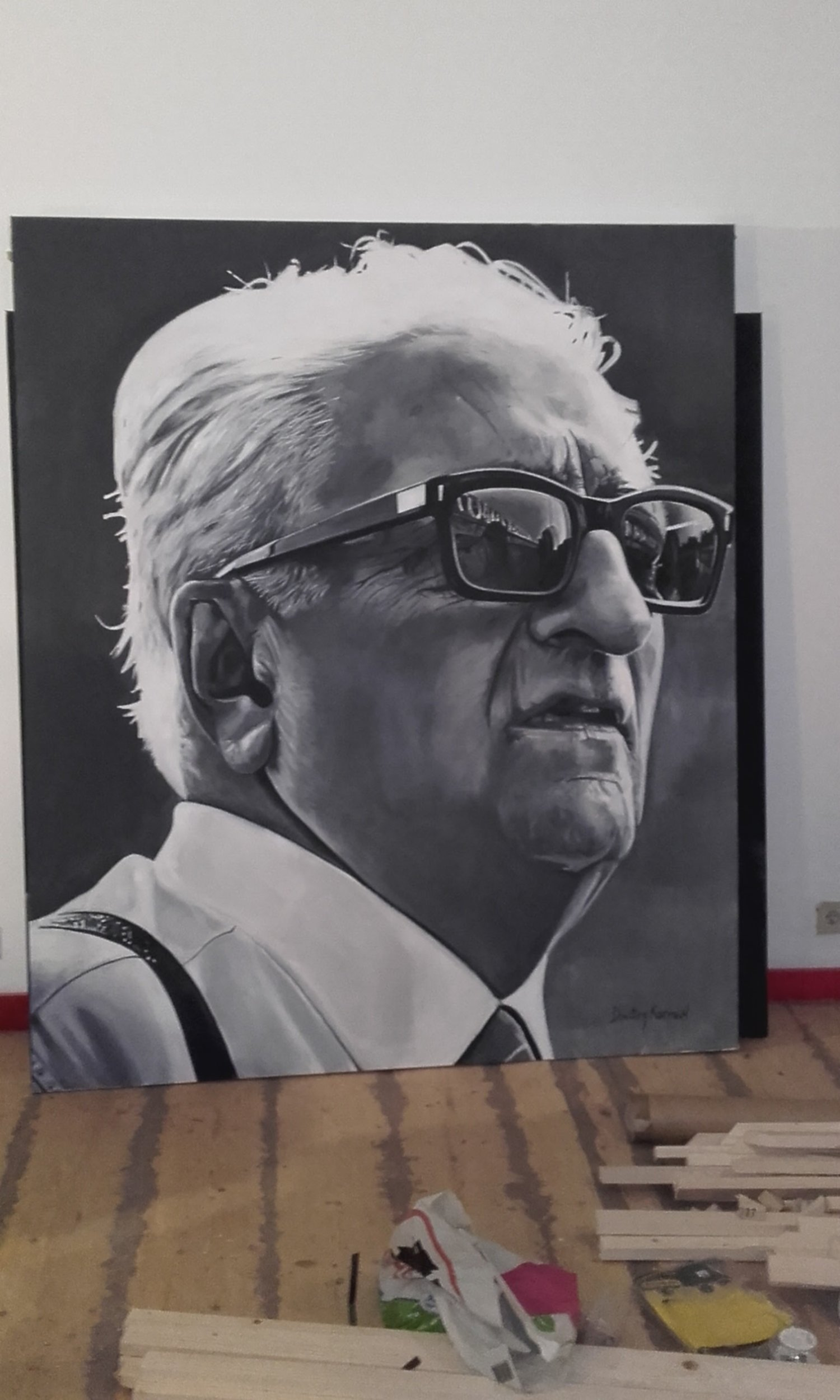 Portrait of Enzo Ferrari painted for the restaurant I Migliori, Antwerp, Belgium