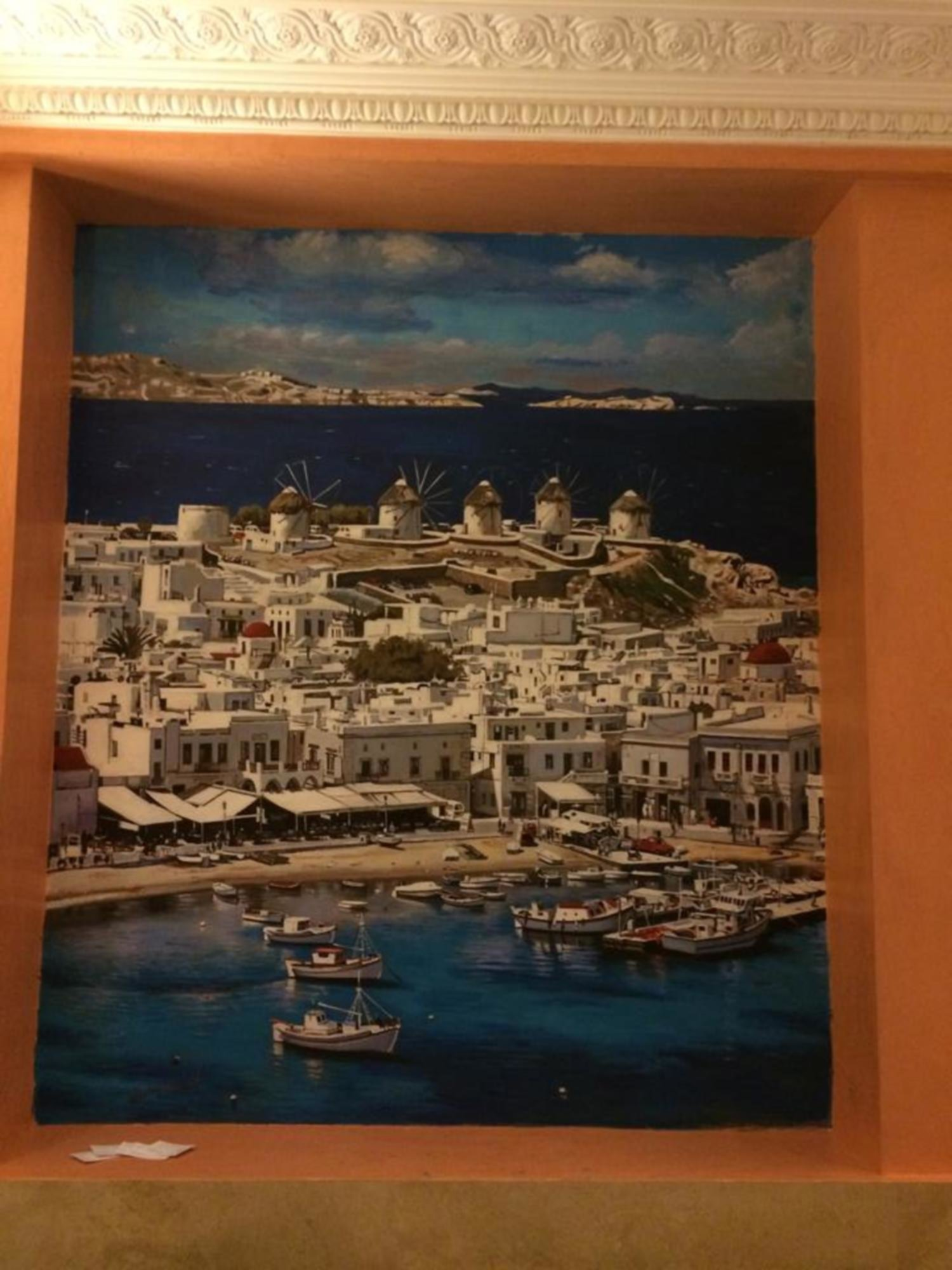 Mykonos, mural in the restaurant Yalousa, London, UK