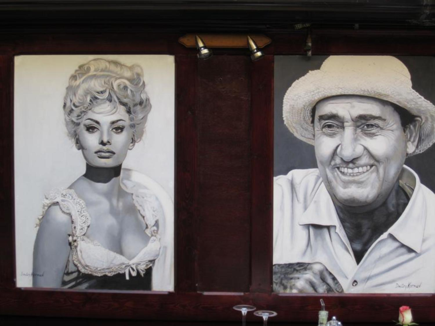 Sophia Loren and Alberto Sordi, murals in the restaurant I Famosi, Antwerp, Belgium