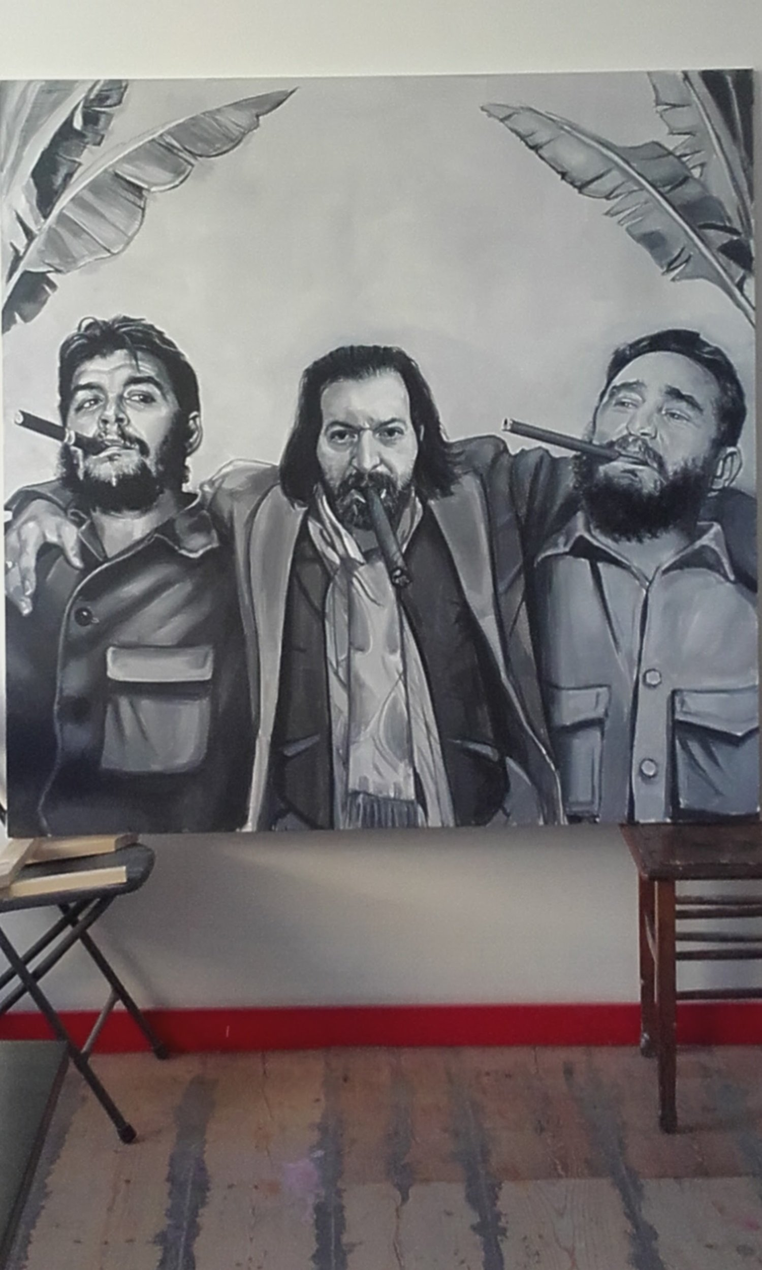 Portrait of Reza with F. Castro and Che Gevara
